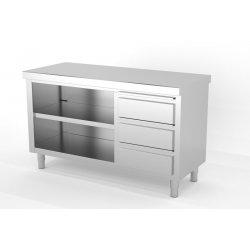 Mueble neutro central abierto por 1 cara con módulo de 3 cajones a la derecha. Fondo 600