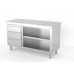 Mueble neutro central abierto por 1 cara con módulo de 3 cajones a la izquierda. Fondo 600