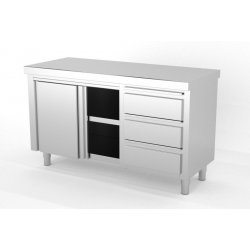 Mueble neutro central con puertas correderas con módulo de 3 cajones a la derecha. Fondo 700