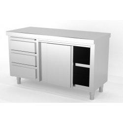 Mueble neutro central con puertas correderas con módulo de 3 cajones a la izquierda. Fondo 700