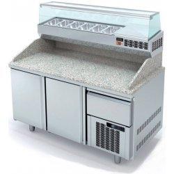 Mesa fría para pizza de 2 puertas con cajón 40x60