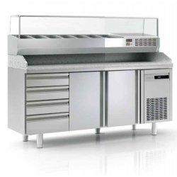 Mesa fría para pizza de 2 puertas más cajones 40x60