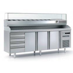 Mesa fría para pizza de 3 puertas más cajones 40x60