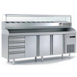 Mesa fría para pizza de 3 puertas más cajones 1/1