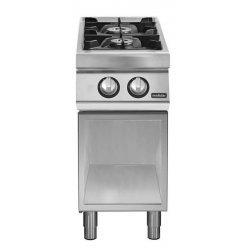 Cocina a gas 2 fuegos Fondo 700 Base abierta Pratika