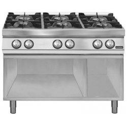 Cocina a gas 6 fuegos Fondo 700 Base abierta Pratika