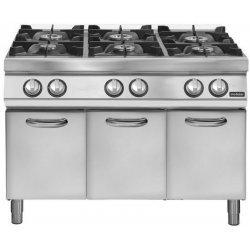 Cocina a gas 6 fuegos Fondo 700 Base con puerta Pratika