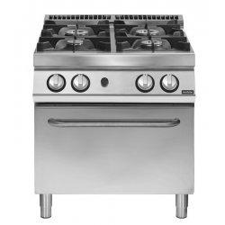 Cocina a gas de 4 fuegos sobre horno gas GN 2/1 Fondo 700 Pratika