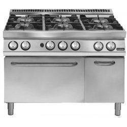 Cocina a gas de 6 fuegos sobre horno gas GN 2/1 Fondo 700 Pratika