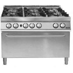 Cocina a gas de 6 fuegos con horno maxi gas Fondo 700 Pratika