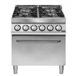 Cocina a gas 4 fuegos sobre horno eléctrico convección GN 2/1 Fondo 900 Pratika