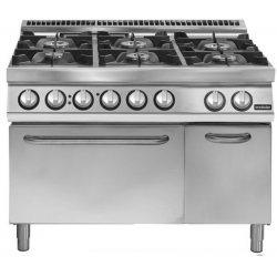 Cocina a gas 6 fuegos sobre horno eléctrico convección GN 2/1 Fondo 900 Pratika