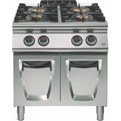Cocina a gas a 4 fuegos Fondo 700 Base con puerta Emotion
