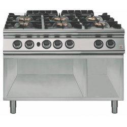 Cocina a gas a 6 fuegos Fondo 700 Base abierta Emotion