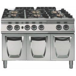 Cocina a gas a 6 fuegos Fondo 700 Base con puerta Emotion