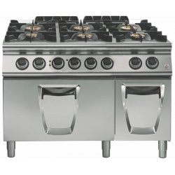 Cocina a gas a 6 fuegos Fondo 700 Base con horno eléctrico Emotion