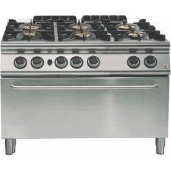 Cocina a gas a 6 fuegos Fondo 700 Base con horno maxi gas Emotion
