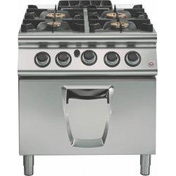 Cocina a gas 4 fuegos con horno gas GN 2/1 Fondo 900 Emotion