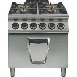 Cocina a gas 4 fuegos con horno eléctrico GN 2/1 Fondo 900 Emotion