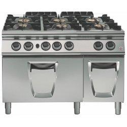 Cocina a gas 6 fuegos con horno gas GN 2/1 Fondo 900 Emotion