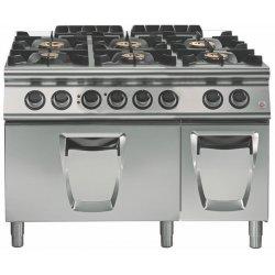 Cocina a gas 6 fuegos con horno eléctrico GN 2/1 Fondo 900 Emotion