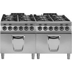 Cocina a gas 8 fuegos con 2 hornos eléctricos GN 2/1 Fondo 900 Emotion