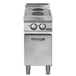 Cocina eléctrica sobre base con puertas 2 fuegos redondos Fondo 700 Pratika