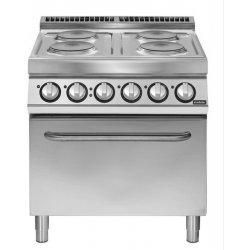 Cocina eléctrica 4 fuegos redondos con horno eléctrico GN 2/1 4x2,6 kW Fondo 700 Pratika