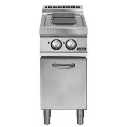 Cocina eléctrica sobre base con puerta 2 fuegos cuadrados Fondo 700 Pratika