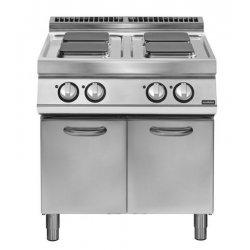 Cocina eléctrica sobre base con puertas 4 fuegos cuadrados Fondo 700 Pratika