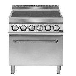Cocina vitrocerámicas 4 zonas de cocción con horno eléctrico GN 2/1 Fondo 700 Pratika