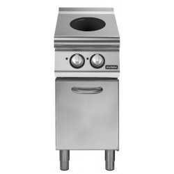 Cocina inducción sobre base con puerta 2 zonas de cocción Ø 220 Fondo 700 Pratika