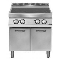 Cocina inducción sobre base con puerta 4 zonas de cocción Ø 220 Fondo 700 Pratika