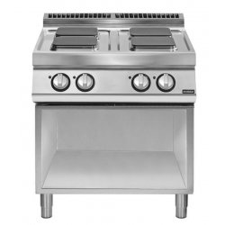 Cocinas eléctrica de base abierta con 4 fuegos cuadrados Fondo 900 Pratika