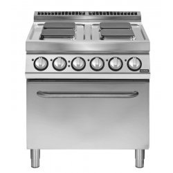 Cocina eléctrica 4 fuegos cuadrados con horno eléctrico GN 2/1 Fondo 900 Pratika