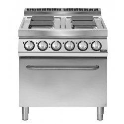 Cocina eléctrica 4 fuegos cuadrados con horno eléctrico convección GN Fondo 900 Pratika