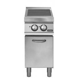 Cocina eléctrica con 2 planchas basculantes sobre base con puerta Fondo 900 Pratika