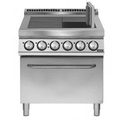 Cocina eléctrica 4 planchas basculantes con horno eléctrico convección Fondo 900 Pratika