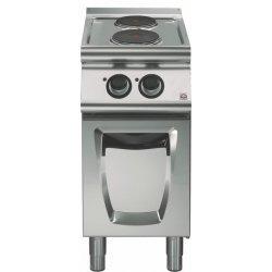 Cocina eléctrica sobre base con puerta 2 fuegos redondos Fondo 700 Emotion