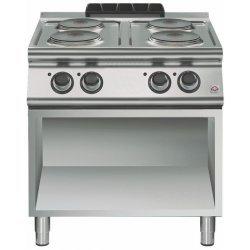 Cocina eléctrica de base abierta 4 fuegos redondos Fondo 700 Emotion