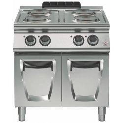 Cocina eléctrica sobre base con puerta 4 fuegos redondos Fondo 700 Emotion
