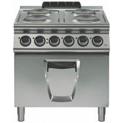 Cocina eléctrica con horno eléctrico 4 fuegos redondos GN 2/1 Fondo 700 Emotion