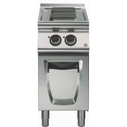 Cocina eléctrica sobre base con puerta 2 fuegos cuadrados Fondo 700 Emotion