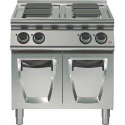 Cocina eléctrica sobre base con puertas 4 fuegos cuadrados Fondo 700 Emotion
