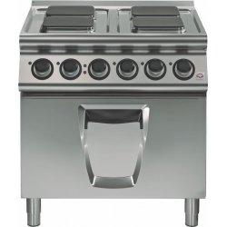 Cocina eléctrica 4 fuegos cuadrados con horno eléctrico Fondo 700 Emotion