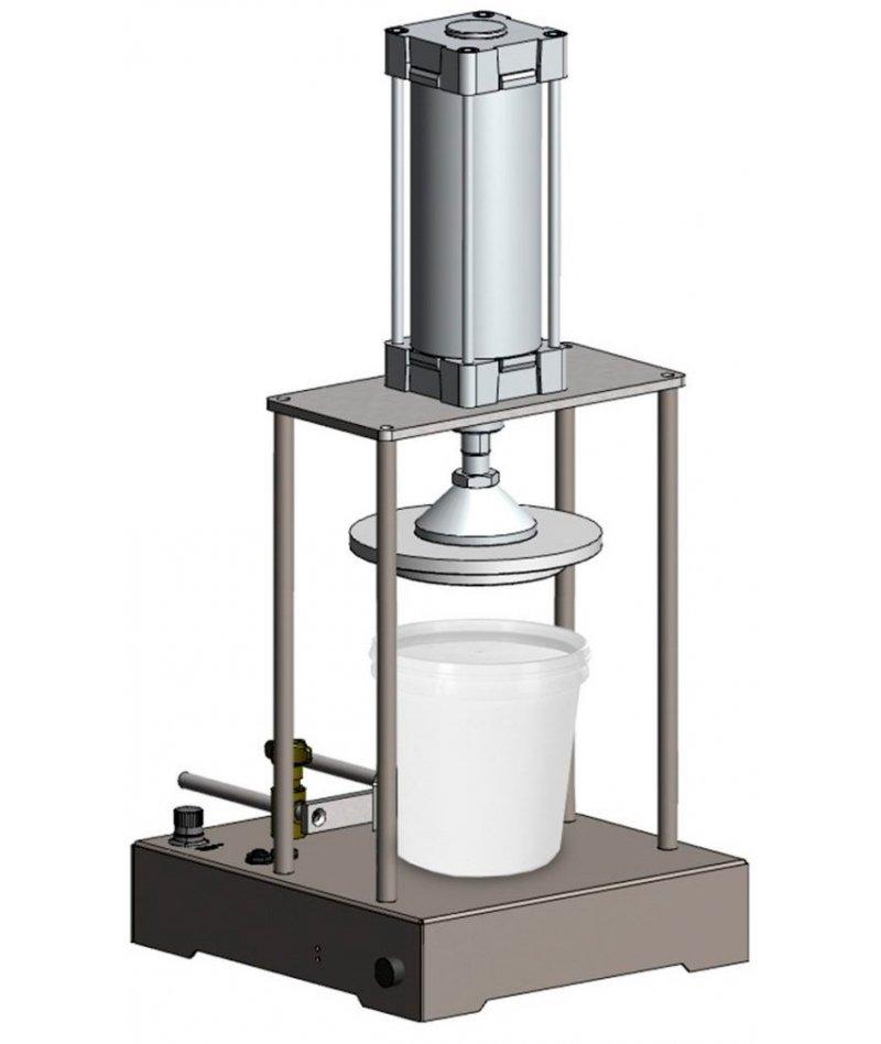 Cerradora de presión para tapas de cubos y latas plásticos o metálicos