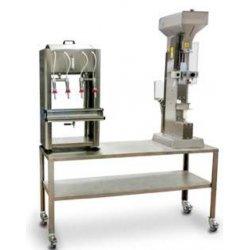 Sistema compuesto de embotelladora + taponadora neumática con carga tapones manual