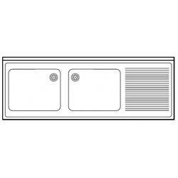 Fregadero con bastidor soldado de 1 cuba Fondo 500 - Ancho 1200 - 2 cuba y escurridor derecha