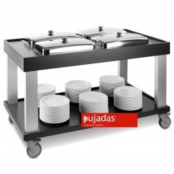 Carro buffet negro 4 GN 1/1 caliente