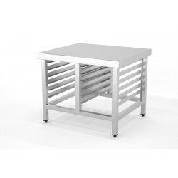 Mesa con soporte de horno con guías soldada